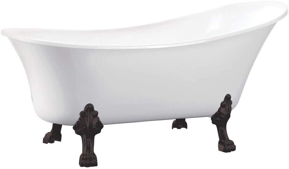 White//Oil Rubbed Bronze Acrylic Clawfoot Tub Kingston Brass VTND512824C5 Aqua Eden 51 in