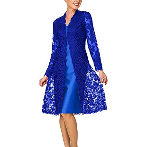 Women's Two-Piece Lace Cardigan Dresses, AmyDong Ladies Fashion Charming Solid Color Bridesmaid Dress Blue - Embroidery Embellished Denim Pants
