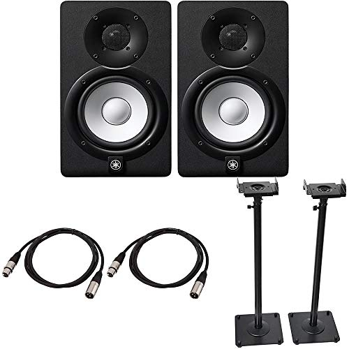 Yamaha HS5 Powered Studio Monitor Pair Black Bundled with a Pair of Height Adjustable Speaker Stands and 2 x 15-Ft XLR Cables