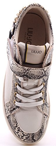 Scarpe Sneakers Donna LIU JO Mid Yabloko White Snake Print Made In Italy New