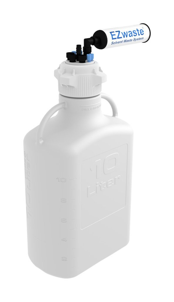EZwaste HPLC Solvent Waste System,10L Heavy Duty Reusable Carboy,83mm(83B) VersaCap with Four(4x) Ports for 1/8 Inch O.D. Tubing;Three(3x) Ports for 1/4 Inch O.D. Tubing;One(1x) Hose Barb Port by Foxx Life Sciences