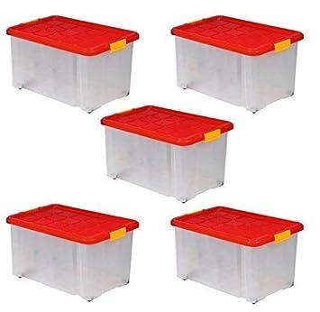photos officielles 65ae6 e2d96 ARTECSIS 5 Boîtes De Rangement Plastique 55L, 60x40x30 cm, sur roulettes  avec Couvercle