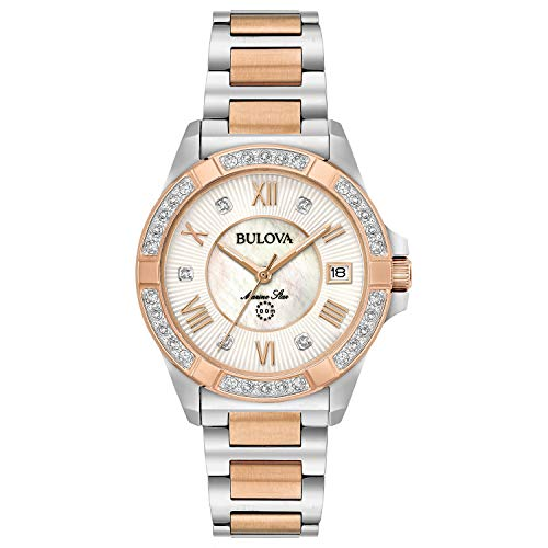 Bulova Women's Analog-Quartz Watch with Stainless-Steel Strap, Two Tone, 16 (Model: 98R234) ()