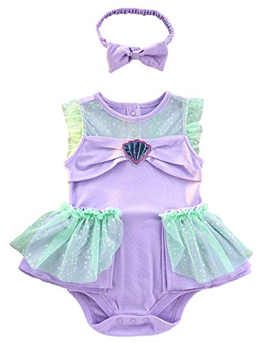 YuDanae Baby Girls Ariel Princess Mermaid Romper Dress with Headband Outfit Costume for Toddler 3-18 Months,Tag 95(Age:12-18M)=Height: 31.5-33.9inches]()
