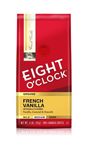 Eight O'Clock Ground Coffee, French Vanilla, 11 Ounce, Pack of 6 (Wake Me Up At 11 O Clock)