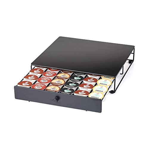 Nifty Coffee Pod Drawer – Black, Compatible with K-Cups, 36 Pod Pack Holder, Non-Rolling, Compact Under Coffee Pot…