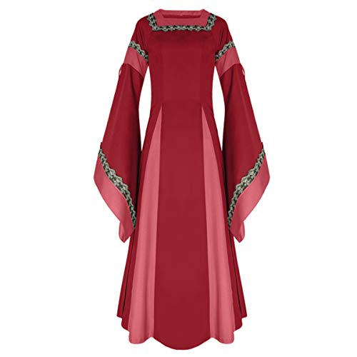 iCos Women Medieval Long One-Piece Royal Dress Renaissance Belle Sleeve Retro Gown Halloween Costume (Small, -