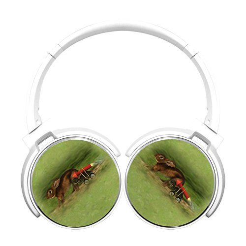 Noise Reduction Wireless Hifi Stereo Bass Over Ear Bluetooth Earphone Foldable Soft Memory Protein Earmuffs For Pc/Cell Phones/Tv 3.5Mm Plug,Print Rabbit (Tortoise Standard Bass)