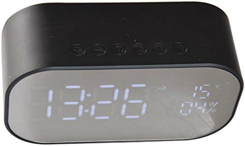 ChiliTec Radio-Wecker Uhrenradio Bluetooth USB MicroSD Slot Radio Thermometer blau beleuchtetes Display mit Akku