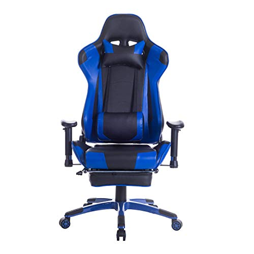 ZOPPO Back Massage Gaming Chair with Footrest,Reclining PC Computer Video Game Racing Gamer Chair,High Back Executive Ergonomic Office Desk Chair with Headrest Lumbar Support Cushion (Blue)