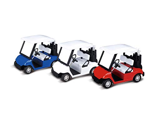 Cottontail 6-Pack Die-Cast Mini Golf Cart Toy Set Friction-Powered Blue Red White Colors 4.5
