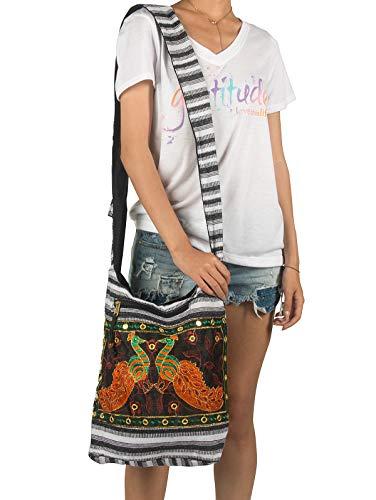 Women Hobo Shoulder Bag Peacock Messenger Casual Everyday Large Roomy School Laptop Boho Hippie Cross Body Market Thick Woven Pockets Functional (Black White)