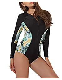 FEOYA Womens Long Sleeve Front Zip Rashguard One Piece Swimsuit UV UPF 50+ Sun Protection Stripes Surfing Bathing Suits