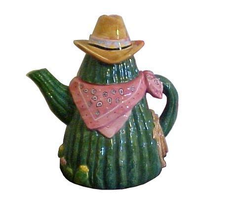 "Schmid Teatime Harmonies Home on the Range Texas Cactus Cowboy Musical Single Serving Tea Pot 7"""