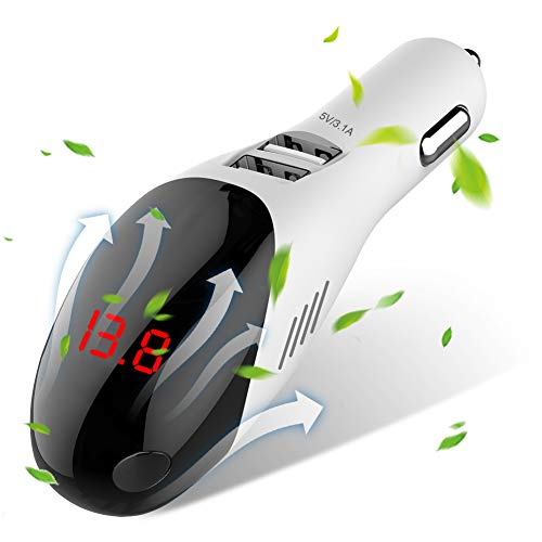 AVOD Car Charger 3.1A Dual USB Port with Anion Purifier, Intelligent with Current/Voltage Digital Display for Galaxy S9/S8/Edge/Plus,iPhone Xs/Max/XR/X/8, iPad Pro/Air 2/Mini