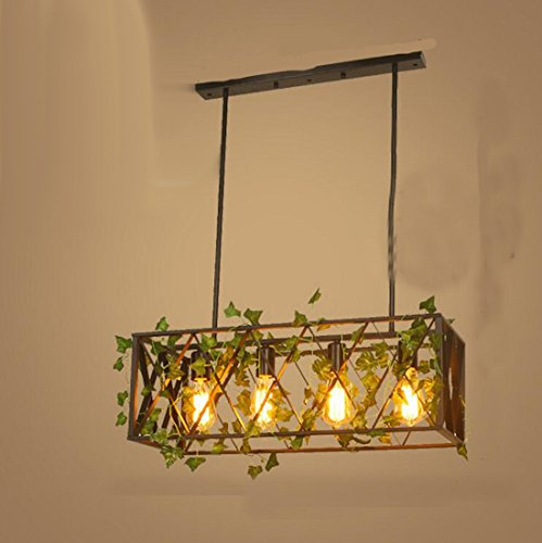 Onfly Creative Iron Bird Cage Plant Hanging Lights E27 Single Head/4 Head Walnut Chandelier Pendant Lamps Restaurant/living Room/balcony/flower Shop Chandeliers (Without Bulb) (Style : Rectangle)