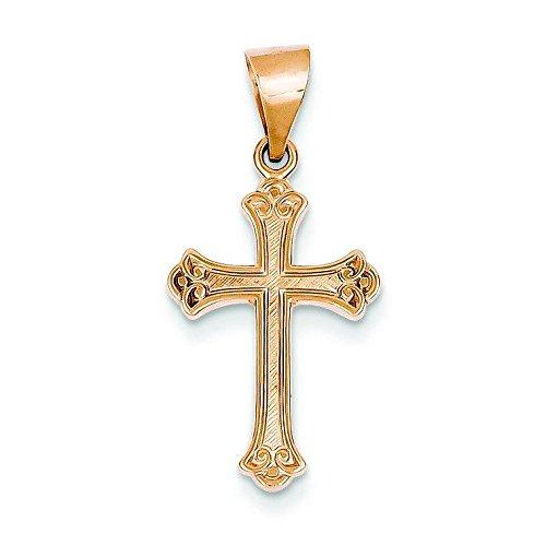Or 14 Carats Pendentif croix Rose-JewelryWeb