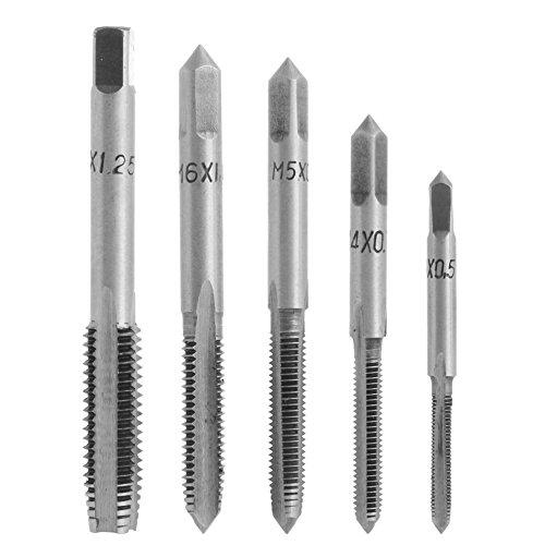 Kangnice 5Pcs/Set HSS Machine Hand Screw Thread Metric Plug Tap Drill Kit M3 M4 M5 M6 M8 ()