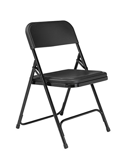 National Public Seating 800 Series Steel Frame Premium Light Weight Plastic Seat and Back Stacking Folding Chair with Double Brace, 480 lbs Capacity, Black (Carton of (Back Steel Stacking Chairs)