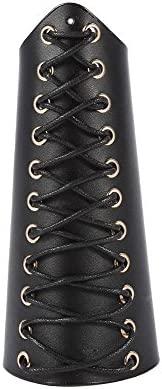 Archery Arm Guard Bracer Hunting Shooting Lace-up Leather Armguard(Black)