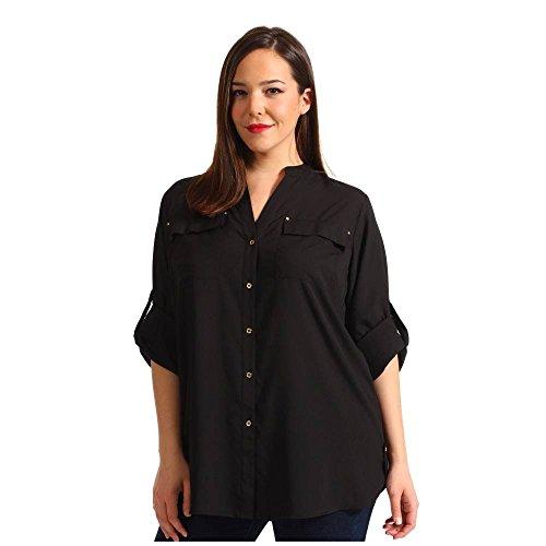 アンデス山脈地域ラバ(カルバンクライン) Calvin Klein Plus レディース トップス ブラウス Plus Size Crew Roll Sleeve Blouse 並行輸入品