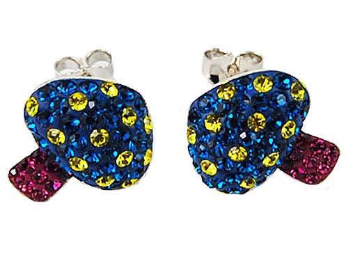 Sapphire Mushroom - Toadstool Cartoon Sapphire Yellow Crystal .925 Mushroom Ag EarRing ALAs