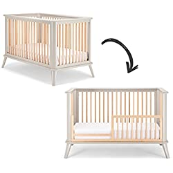 Pali Leone Crib and Toddler Rail Combo in Gray Natural