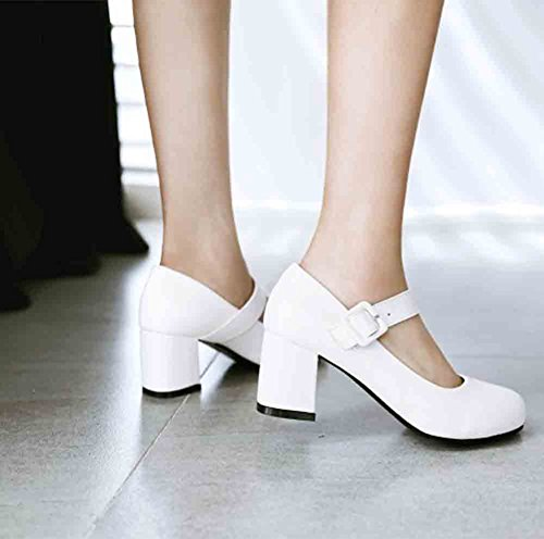 Easemax Womens Sweet Round Toe Low Cut Cinturino Con Fibbia Mid Block Tacco Mary Jane Pumps Shoes Bianco