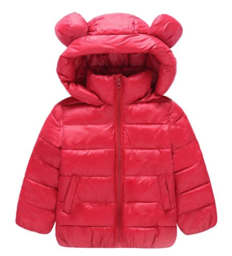 Deep Winter Parka - Cotton Padded Coat Child Hooded, Boy Winter Jacket Cute Parka Girl 11 Colors 12 Months-6 Years (US Size 4T, Deep Red)