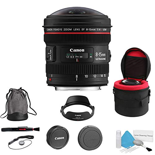 (Canon EF 8-15mm f/4L Fisheye USM Lens (International Model) - Bundle with Heavy Duty Lens Case 4.5