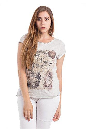 Abbino Basics Camisetas Tops Camisas para Mujer - Hecho en ITALIA - Varios Colores - Entretiempo Primavera Verano Otoño Casual Chica Vintage Fiesta Elegantes Fitness Interiores Rebajas Manga Corta Grau (Art. 0797)