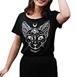 Women Wizard Costume Short Sleeve Gothic Punk Style T Shirt Cat Moon Print Blouse Tops by Lowprofile Black