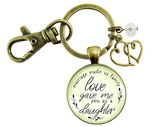Bonus Daughter In Law Keychain Marriage Made Us Family Love Gift Blended Family Rustic Wedding Jewelry Heart Charm