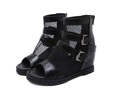 Peep Hollow Boots 7 Cool Roma Empalme Dress Net Shoes Hebilla Color Zipper Heel Belt Zapatos Court 40 Boots Toe OL Mujeres Eu Hilado transpirable Wedge Mesh Tamaño Onfly Negro 5cm 34 puro x8dPEUPq