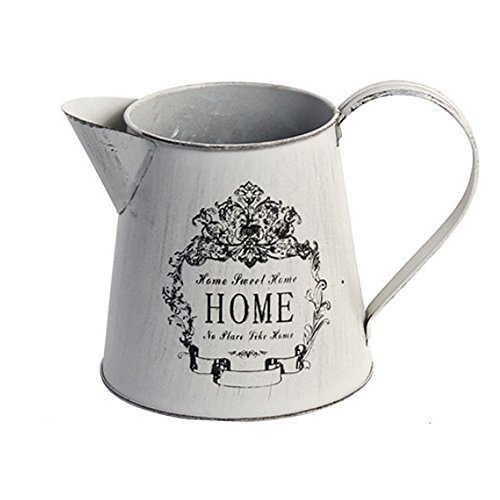 - Watering Honey Antique French Style Country Rustic Primitive Jug Vase Metal Pitcher Flower Vase for Wedding Party Decoration