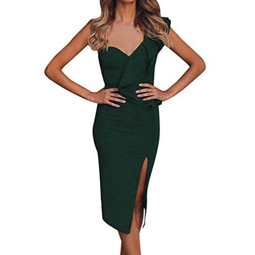 Robe Longue Femme Chic, Sexy lgante Jupe Ouverte de Fourche, Frill Moiti Demi-Manchon Originale Cintre Vetement de Fete Vert