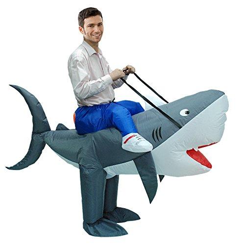 Shark Suit Costumes (KOOY Adult Inflatable Shark Costume Halloween Suit Fantasy Cosplay)
