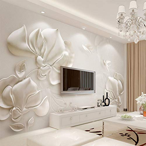 WH-PORP 3D Tapete Moderne Stereoskopische Gips Geprägte Magnolien Foto Wandbild Wohnzimmer Tv Sofa Hintergrund Wandverkleidung Home Decor-300cmX210cm