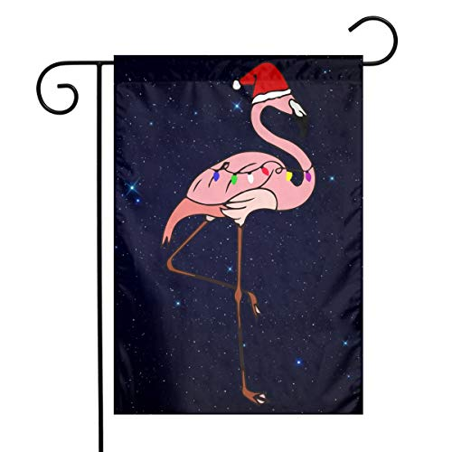 (FQ#8FLAG Christmas Lights Santa Pink Flamingo Welcome Home Garden Decor Outdoor Garden Home Garden Flag 12