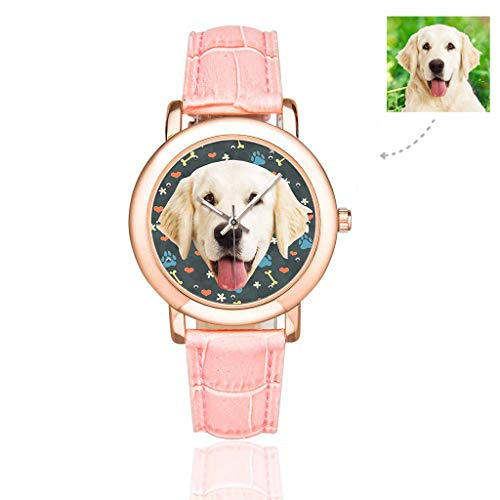 Custom Photo Dog Puppy Pet Watch with Face Bones Tracks Paws Flower Heart Casual Wrist Watch for Women/Girlfriend/Wife ()