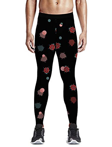 Queen Area Red and Blue Ladybug Men's Yoga Pants Compression Fitness Shorts Capri Legging S