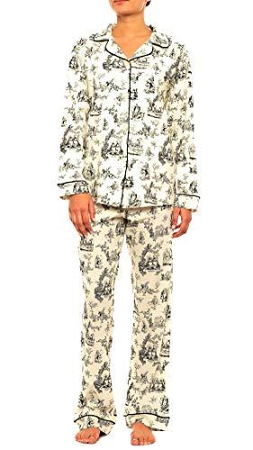 (BedHead Pajamas Noir Alice Toile Stretch L/S Classic PJ Set 1002-SH7-7530 (Small))