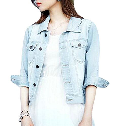 Pandapang Women's Denim Slim Fit 3/4 Sleeve Coat Destroyed Ripped Jean Jacket Blue4 L (Advance Sleeve Coat 3/4)