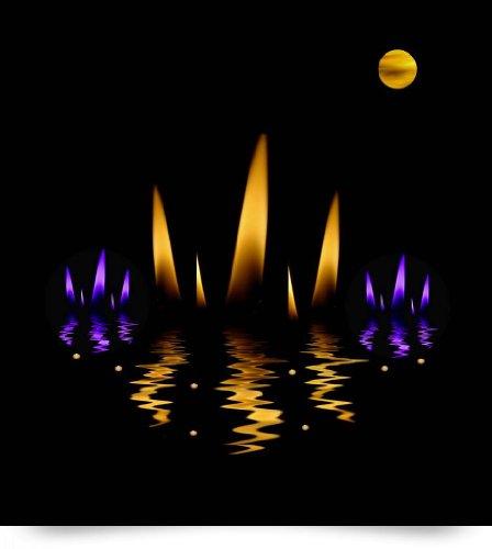 Lotus On Fire In The dark Night (Giclee Art Print), Pepita Selles