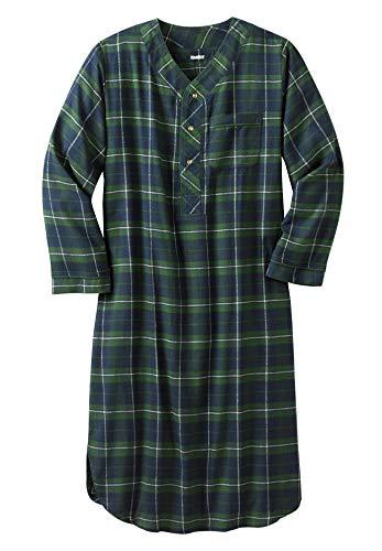 KingSize Men's Big & Tall Plaid Flannel Nightshirt, Balsam Plaid Tall-L/X