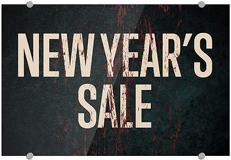CGSignLab 5-Pack 27x18 New Years Sale Ghost Aged Rust Premium Brushed Aluminum Sign