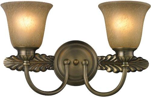 Elk 11424/2 18 by 10-Inch Ventura 2-Light Bathbar with Caramel Amber Glass Shade, Antique Brass Finish