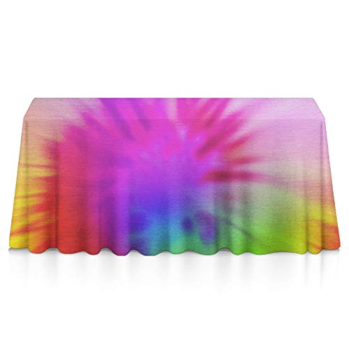 NiYoung Premium Dust-Proof Tablecloths, Rectangular 3D Print Vortex Tie Dye Tablecloths, Dust-Proof Wrinkle Free Table Toppers - Home Table Decor, (Tie Dye Toothbrush)