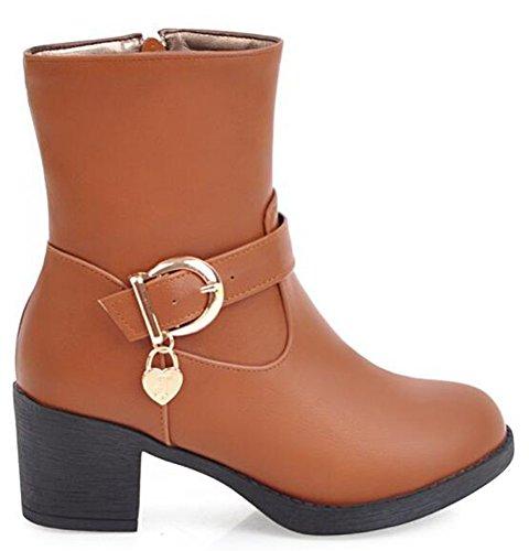 Idifu Kvinna Bekväma Mitten Grova Klackar Boots Med Dragkedja Gul