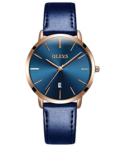 OLEVS Women's Minimalist Ultra Thin Big Face Date Dress Leather Wrist Watches Navy Blue Slim Simple Business Casual Large Dial Rose Gold Analog Quartz Watch Waterproof with Band Strap Classic ()